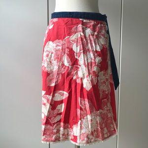 ANTHROPOLOGIE floral cotton wrap skirt